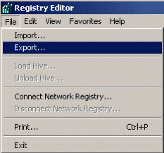 Registry Editor File Menu