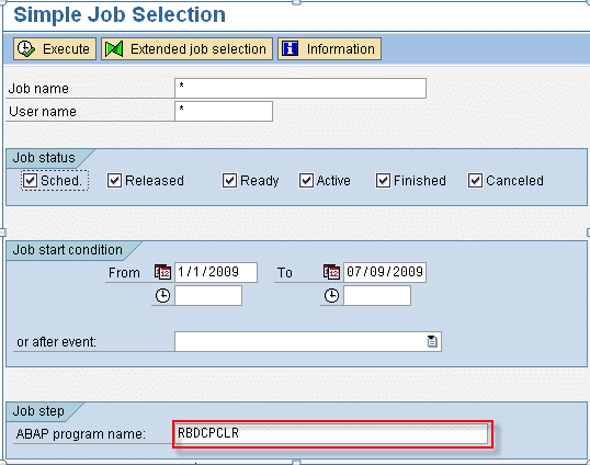 SM37 Simple Job Selecion Screen