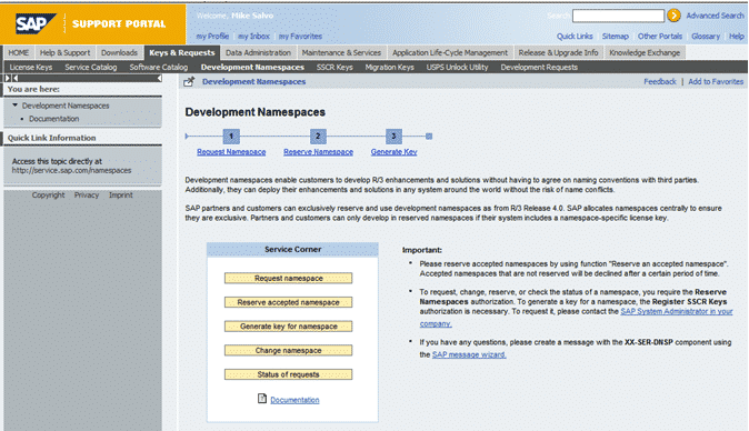 namespace support portal