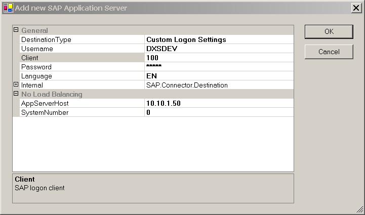 SAP Server Connection Properties