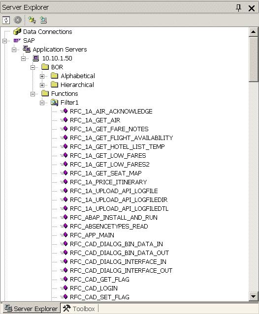 SAP Function Filter Display